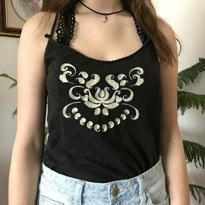 vintage embroidered spaghetti strap tank top